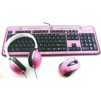 3 Pack/Set Pink Crystal Rhinestone USB Computer Keyboard + Wireless Mouse + DJ Over the Ear Headphones