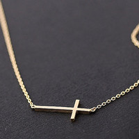 sideways cross necklacegold by bythecoco on Etsy