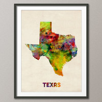 Texas Watercolor Map USA, Art Print 18x24 inch (347)