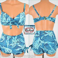 Stunning Bombshell Beauty Vtg 50s Miss Hawaii 2 pc Swimsuit Pinup Playsuit XS | eBay