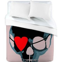 Duvet Cover Blue Skull with Bow (by DENY Designs)