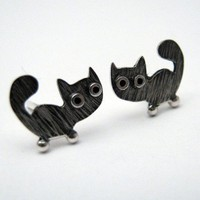 Kitty CAT Stud Earrings Sterling Silver Oxidized Black by karramba