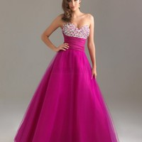 Ball Gown Sweetheart Long Fuchsia Crystal Prom Dress
