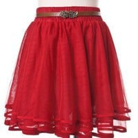 Delicacy Triple Layers Tutu in Red - Bottoms - Retro, Indie and Unique Fashion