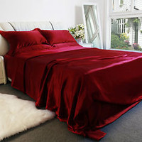 LilySilk 100%Mulberry Silk Sheet Set- Claret Color-Twin Full Queen King Cal.king