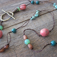 Silk necklace Pink passion neckwear by CopperTreeArt on Etsy