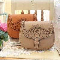 Bohemian Openwork Motif Vintage Leather Flower Bag for Women