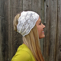 Wide Stretch Lace Headband in Ivory Cream off white by HillNTrees