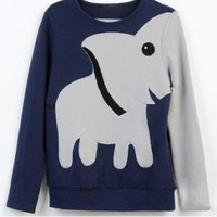 Elephant Pattern Hoody Tee Long Sleeve Loose Sweaters