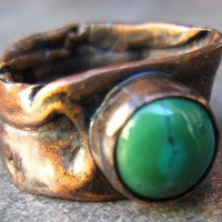 Metalsmith Turquoise Ring by CopperTreeArt on Etsy