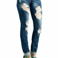distressed skinny jeans $35.70 in BLUE - Jeans | GoJane.com