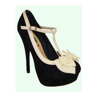 Black & Cream Abby T-Strap Bow Heels