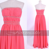 A Line Strapless Sweetheart Long Chiffon Watermelon Prom Dresses, Formal Gown, Evening Gown, Wedding Party Dresses, Homecoming Dresses