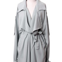 Oversize Chiffon Trench Coat in Grey by Chic+ - Outers - Retro, Indie and Unique Fashion
