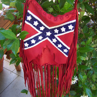 Confederate, Rebel Flag  Deerskin Leather with Fringe Purse,  Crossbody or Shoulder Purse