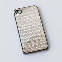 Hand Drawn Geometric Tribal Pattern Wood iPhone 4 iPhone 4S iPhone case design, Navajo Pattern on Wood