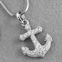 Silver Tone Clear Crystals Anchor Charm Pendant Necklace Rhodium Plated Gift Boxed:Amazon:Jewelry