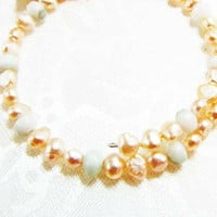 Peach Pearl and Chalcedony Beaded Memory Wire by Readesign on Etsy