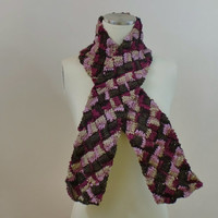 Wool Entrelac Scarf Light Dark Pink Warm
