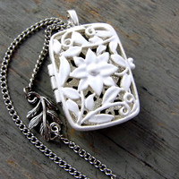 Vintage silver-plated cage locket necklace - white enameled, long necklace with leave charm. Spring jewelry for her.