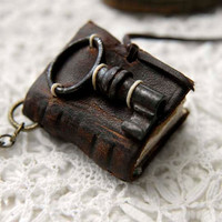 The Secret Key - Miniature Wearable Book, Rustic Brown Leather, Tiny Vintage Key, OOAK