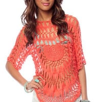 Sunset Crochet Sweater in Coral :: tobi
