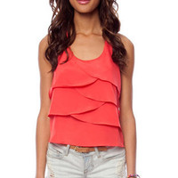 Zipped Ruffles Tank Top in Coral Red :: tobi