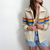 Vintage 80's Windbreaker Jacket Surf Style Beige Rainbow Zip Up Ski Winter Size Small Medium