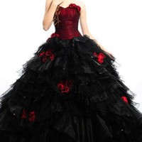 Noble Satin/Organza/Fine-netting Sweetheart Ruffle/Hand-flower Ball Gown Floor-length Bridesmaid Dress
