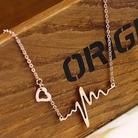 Gold ECG necklace