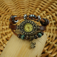Ethnic Handmade Bead Little Elephant Bracelet Watch