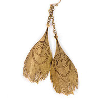 Carved Feather Earrings in Brass :: tobi