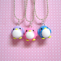 Penguin Friendship Kawaii Cute Polymer Clay Charms by DoodieBear