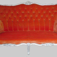 Jimmie Martin Ltd Epstein sofas upholstered in deep warm orange velvet.