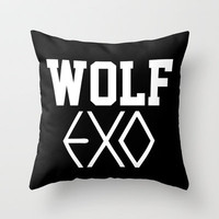 EXO  Wolf Throw Pillow by Sara Eshak