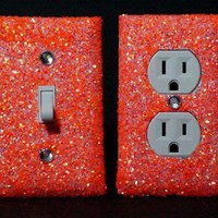 SET of LUMINOUS ORANGE Glitter Switch Plate / Outlet Covers ANY STYLES