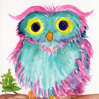 Colorful OWL ART Original - Owl on a branch