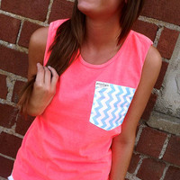 Neon Coral Tank w/ Chevron Pocket | The Rage