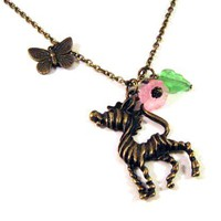 Zebra Necklace Jewelry With Pink Flower And Green Leaf - Antiqued Bronze Butterfly Necklace | Luulla