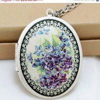 ON SALE Forget Me Not Flower LocketBlue LocketPhoto by emmagemshop
