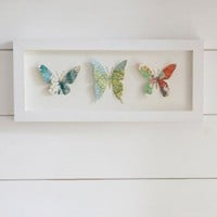 Framed Map Print Trio of Butterflies