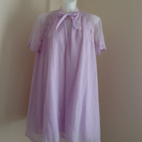 Vintage 1960s Harvey Woods Lavender Chiffon Peignoir Set