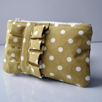 Mustard Dotty Mini Ruffle Coin Purse.