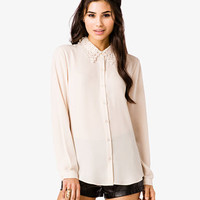 Embroidered Collar Shirt | FOREVER 21 - 2034642879