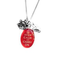 Keep Calm and Carry On Crown and Heart Charm Necklace by hoolala