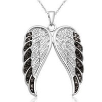Sterling Silver Black and White Angel Wings Diamond Pendant (1/2 cttw, I-J Color, I2-I3 Clarity), 18""