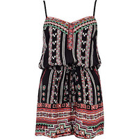Black tribal print strappy playsuit - playsuits - playsuits / jumpsuits - women
