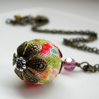 Kimono Fabric Cherry Blossom Necklace - In Chartreuse / Lime Green