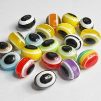Evil Eye Oval Resin Multicolor Beads