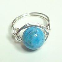 Crazy Lace Agate Blue Silver Plate  Wire Wrapped Ring